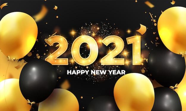 Moderner neujahrshintergrund 2021 mit realistischer ballonzusammensetzung Kostenlosen Vektoren