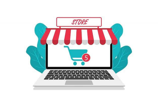 Moderner online-shop im laptop. online einkaufen. flacher stil. für websites und app. Premium Vektoren