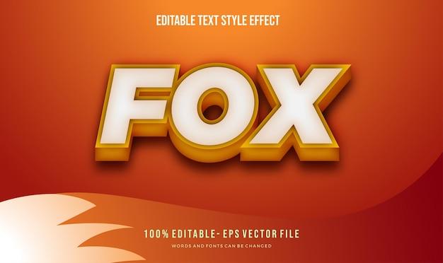 Moderner orange fuchs-textstil. vektor bearbeitbarer textstileffekt. Premium Vektoren