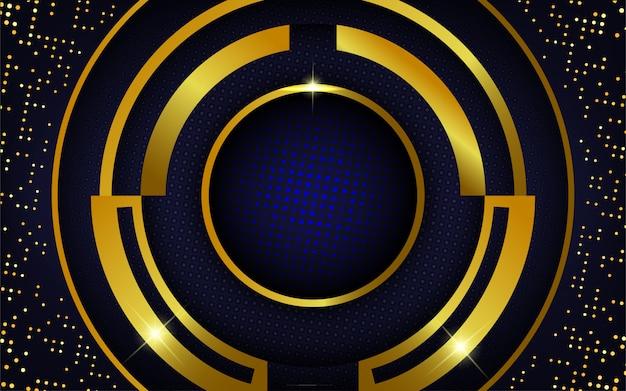 Moderner realistischer goldhintergrund mit blauen punkten Premium Vektoren