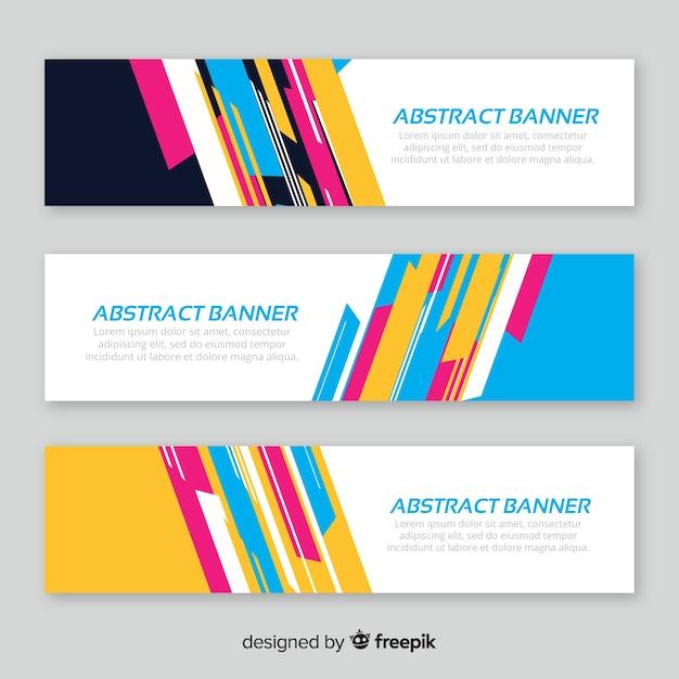 Moderner satz abstrakte fahnen mit flachem design Kostenlosen Vektoren