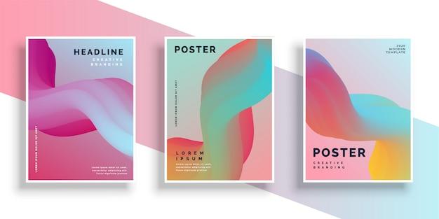 Moderner satz des vibrierenden plakatdesignhintergrundes Kostenlosen Vektoren
