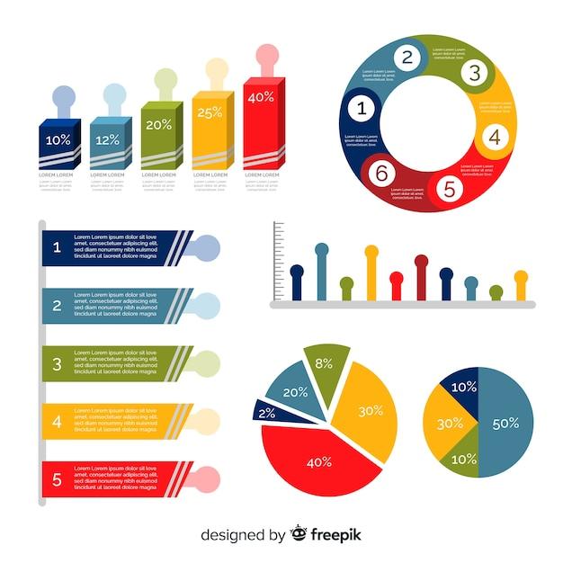 Moderner satz infographics elemente mit flachem design Kostenlosen Vektoren