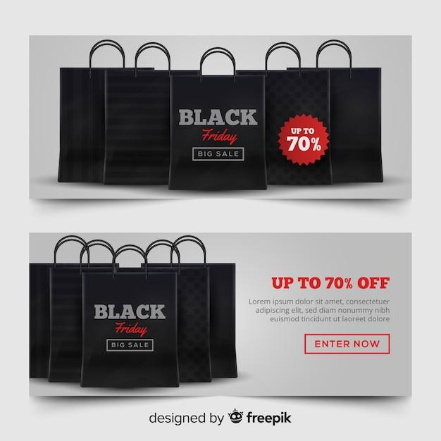 Moderner satz schwarze freitag-fahnen mit realistischem design Kostenlosen Vektoren