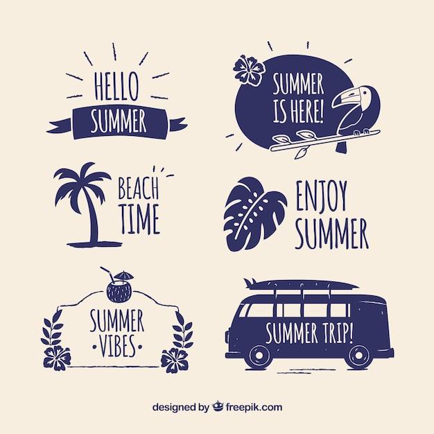 Moderner satz sommerabzeichen Kostenlosen Vektoren