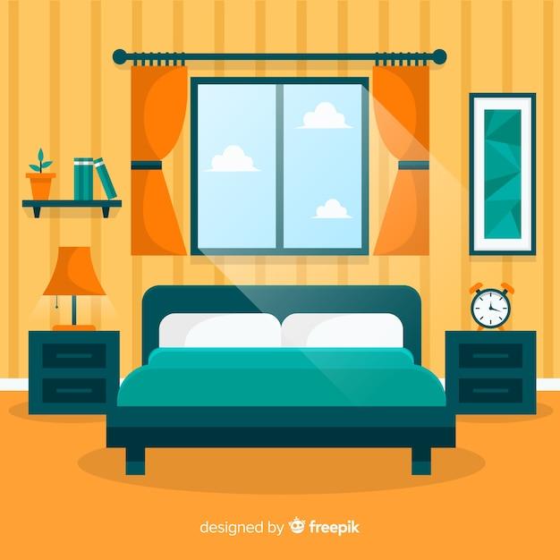 Moderner schlafzimmerinnenraum mit flachem design Premium Vektoren
