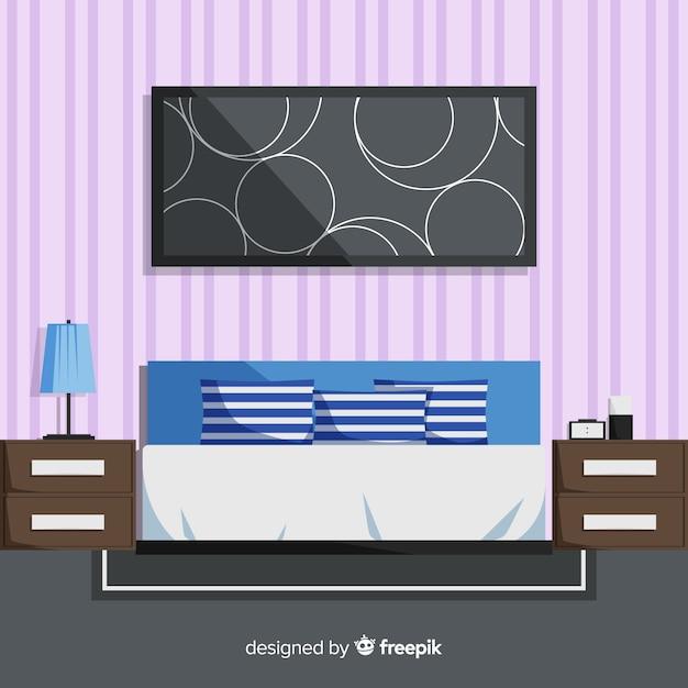 Moderner schlafzimmerinnenraum mit flachem design Kostenlosen Vektoren