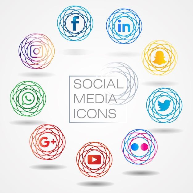 Moderner social media-ikonensatz Premium Vektoren