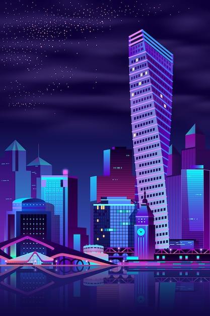 Moderner stadtkai-nachtlandschaftskarikaturvektor Kostenlosen Vektoren
