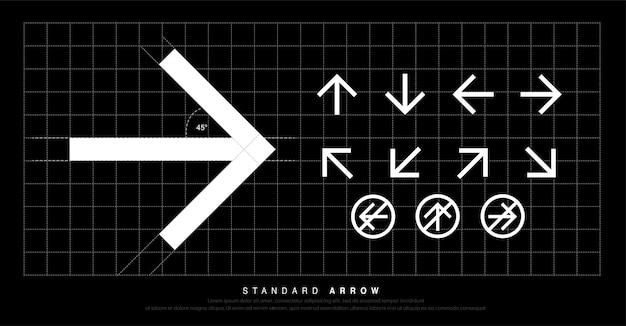 Moderner standardpiktogramm signage der pfeilikone Premium Vektoren