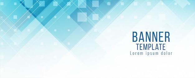 Moderner stilvoller blauer geometrischer fahnenschablonenvektor Kostenlosen Vektoren