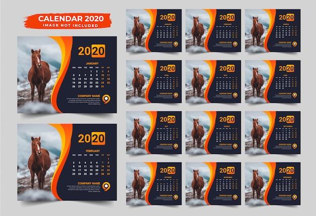 Moderner tischkalender design 2020 Premium Vektoren