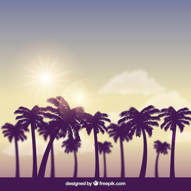 Moderner tropischer hintergrund mit realistischem design Kostenlosen Vektoren