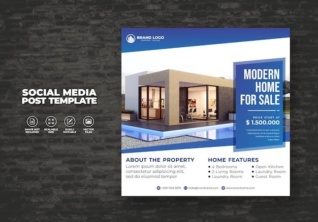 Moderner und eleganter immobilienverkauf für sozialmedienbanner post & square flyer template Premium Vektoren