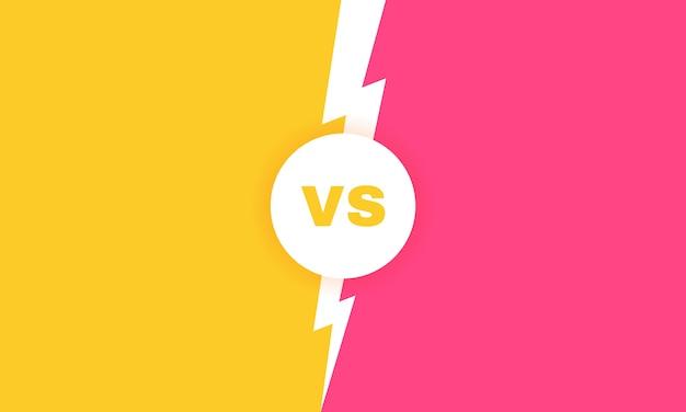 Moderner versus kampfhintergrund. vs kampf schlagzeile mit blitz. wettbewerbe zwischen teilnehmern, kämpfern oder teams. illustration. Premium Vektoren