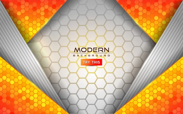 Moderner weißer und orange abstrakter hintergrund mit glänzenden linien effekt Premium Vektoren