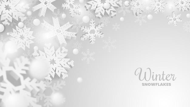 Moderner winter-schneeflockefahne hintergrund Premium Vektoren