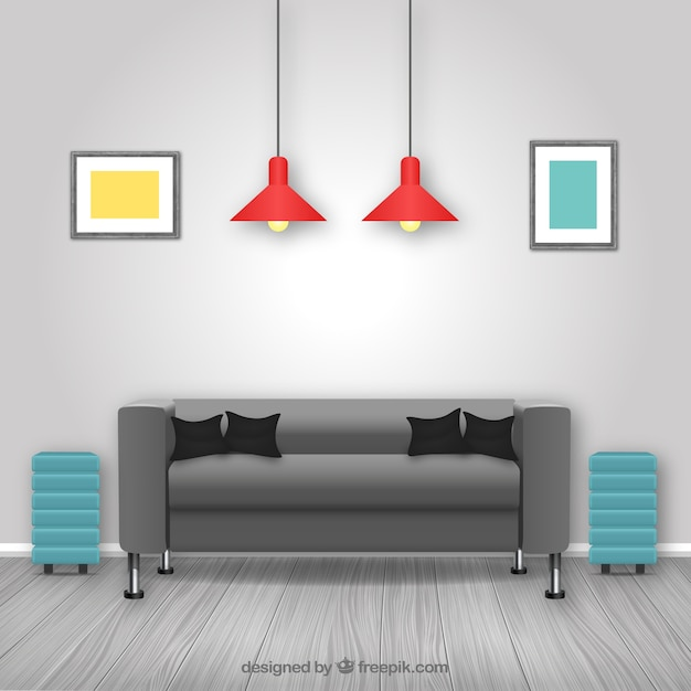 Verwenden Von Spiegeln Im Inneren Des Wohnzimmers Um Den: Download Der Kostenlosen Vektor
