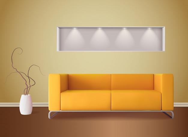 Moderner wohnzimmerinnenraum mit hellem maisfarbsofa und realistischer illustration der gelben wand der weichen schatten Kostenlosen Vektoren