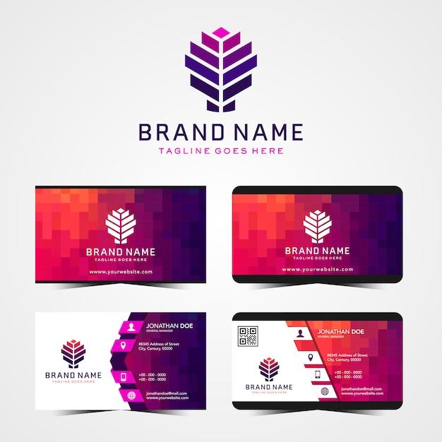 Modernes abstraktes Logo und Visitenkarten Design-Vorlage Premium Vektoren