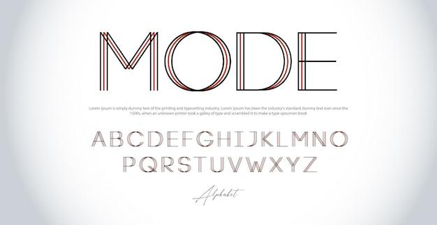Modernes alphabet dünne linie schriftarten. großbuchstaben der städtischen schriftart der typografie Premium Vektoren
