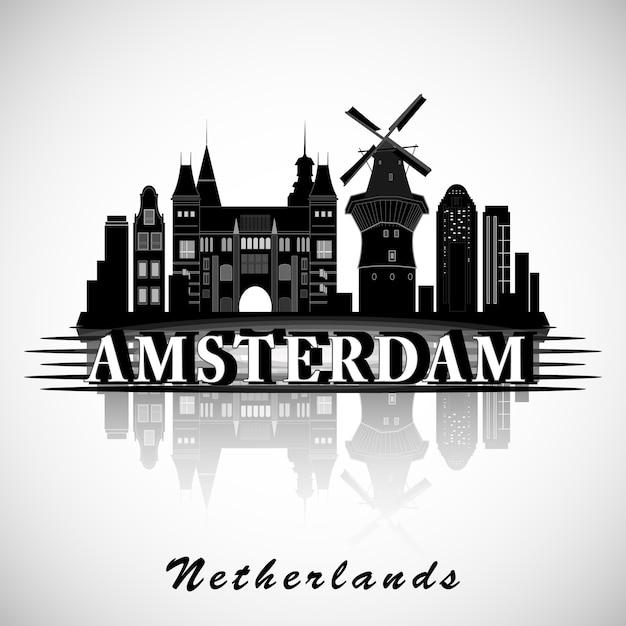 Modernes amsterdamer stadt-skyline-design. niederlande Premium Vektoren