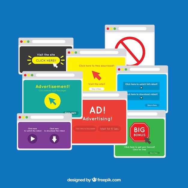 Modernes anzeigenblockkonzept mit flachem design Kostenlosen Vektoren