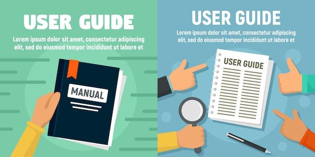 Modernes benutzerhandbuch-bannerset Premium Vektoren