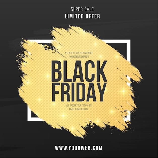 Modernes black friday-banner mit abstraktem golden splash Kostenlosen Vektoren