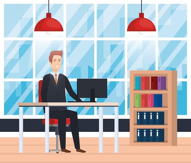 Modernes büro mit geschäftsmann Kostenlosen Vektoren