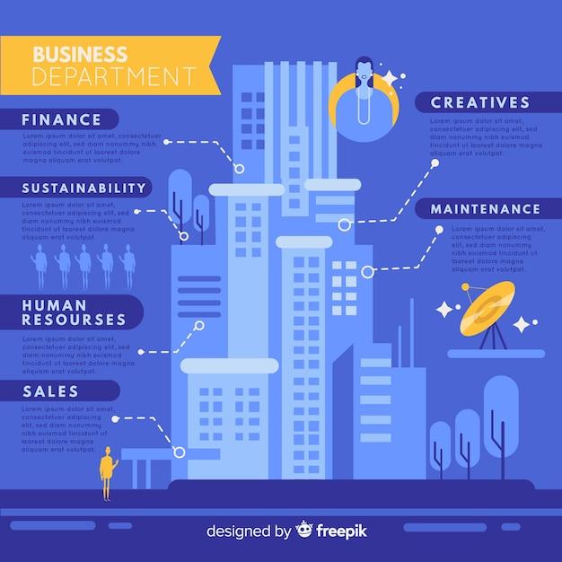 Modernes bürogebäude infographic mit flachem design Kostenlosen Vektoren