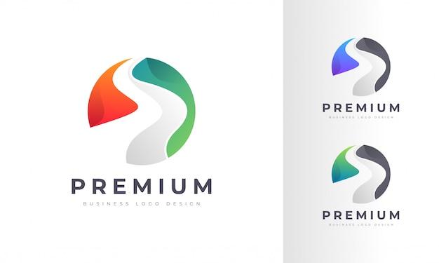 Modernes buntes logo des flusses und der autobahn Premium Vektoren