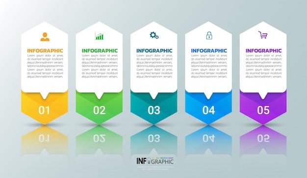 Modernes business-infographik 5 schritte Premium Vektoren
