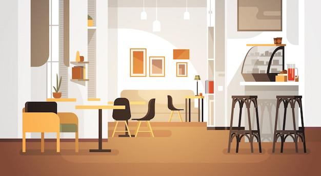 Modernes café-innenraum leeres kein leute-restaurant Premium Vektoren
