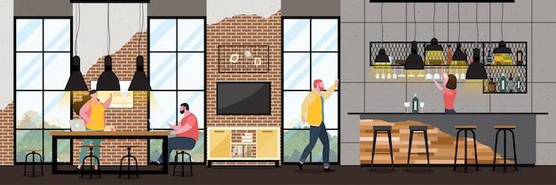 Modernes cafe-interieur im loft-stil mit vollem kunden Premium Vektoren