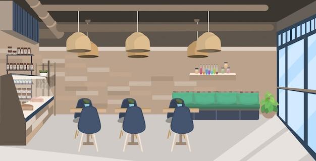 Modernes cafe leer no people restaurant mit tischen und stühlen coffee shop interieur flach horizontal Premium Vektoren