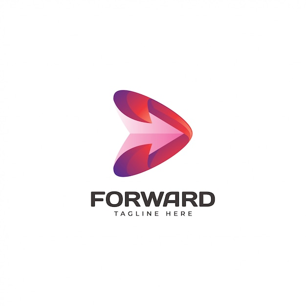 Modernes dreieck-pfeil-vorwärtsspiel-logo Premium Vektoren