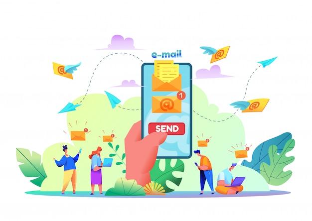 Modernes e-mail- und nachrichtenkonzept. karikaturhand, die modernes smartphone mit e-mail-umschlag mit sendeknopf auf bildschirm hält. e-mail-nachricht im handy-bildschirm. e-mail-marketing-services. Premium Vektoren