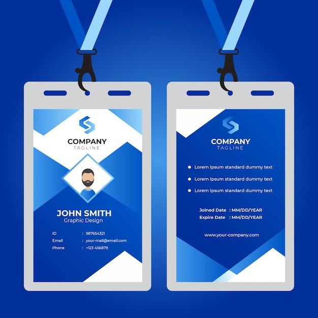 Modernes einfaches unternehmensgeschäftsschablonendesign der büroausweiskarte Premium Vektoren