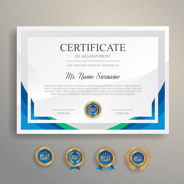 Modernes einfaches zertifikat in blauer und grüner farbe mit goldabzeichen und randschablone Premium Vektoren