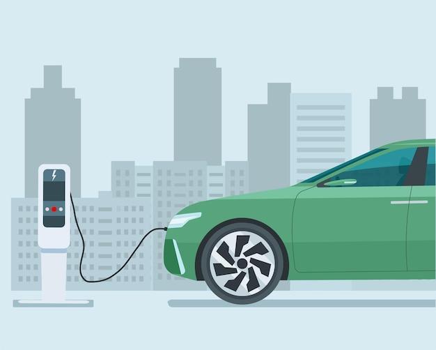 Modernes elektrisches cuv-auto in einer abstrakten stadt. auto in halber größe gezeigt. elektroauto wird aufgeladen. Premium Vektoren
