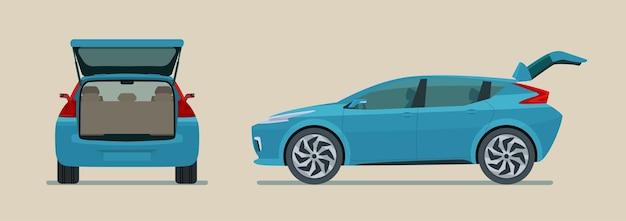 Modernes elektroauto mit offenem kofferraum isoliert, seiten- und rückansicht flache artillustration Premium Vektoren