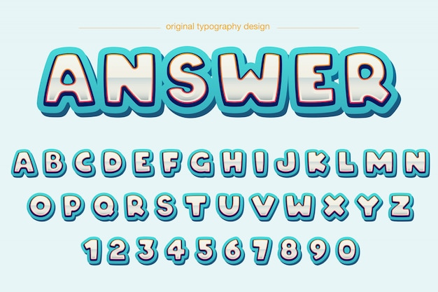 Modernes extravagantes abgerundetes comic-typografie-design Premium Vektoren