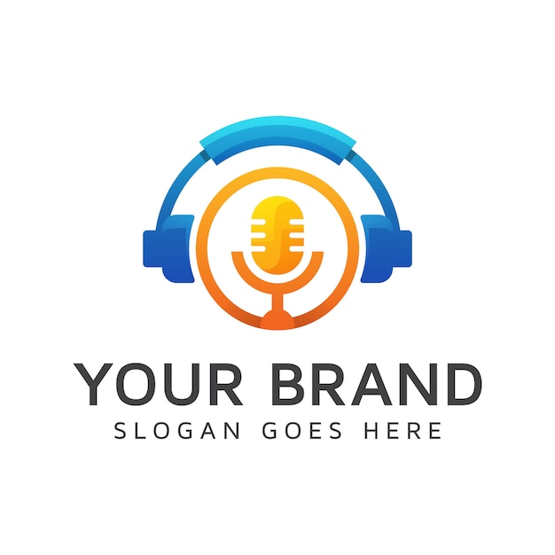 Modernes farb-podcast-logo, bestes musiklogo, kopfhörer mit mikrofonelementkonzept Premium Vektoren