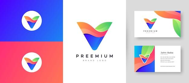 Modernes farbverlaufsbuchstaben-v-logo mit premium-visitenkarten-design-vektorvorlage für ihr unternehmensgeschäft Premium Vektoren