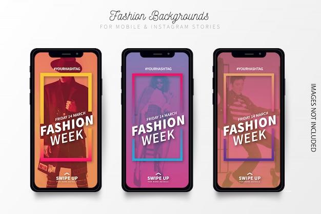 Modernes fashion week banner für instagram geschichten Kostenlosen Vektoren