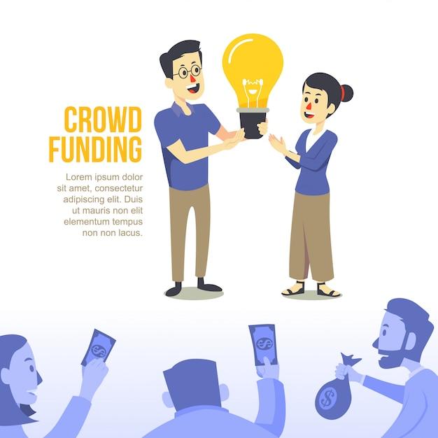 Modernes flaches crowdfundingillustrations-konzept des entwurfes Premium Vektoren