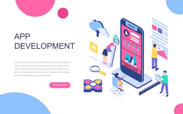 Modernes flaches Design isometrisches Konzept der App-Entwicklung Premium Vektoren