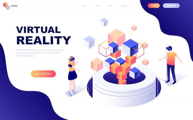 Modernes flaches design isometrisches konzept der virtuellen realität Premium Vektoren