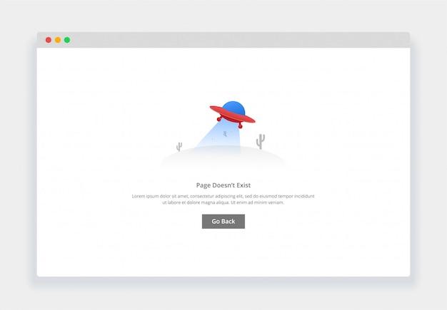 Modernes flaches design-konzept des fliegenden ufo, seite existiert nicht für website und mobile website. leere staaten seitenvorlage Premium Vektoren